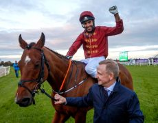 REPRO FREE***PRESS RELEASE NO REPRODUCTION FEE***Leopardstown Racing, Leopardstown Racecourse, Dublin 22/10/2017Corinthian Challenge for Irish Injured JockeysSheikh Fahad Al Thani celebrates after winning the third and final leg of the Corinthian Challenge for Irish Injured Jockeys today at Leopardstown Racecourse. Sheikh Fahad Al Thani won on board Brutal, owned by Qatar Racing Limited and trained by Gordon Elliot. The Corinthian Challenge is a three part charity race series in which amateur riders compete to raise much needed funds for Irish Injured Jockeys. The overall series winner was Lynne McLoughlin who finished with 17 pointsMandatory Credit ©INPHO/James Crombie