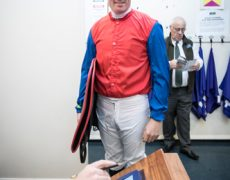 Killian McCarthy weighs out for the last leg of the Corinthian Challenge Charity Race Series.