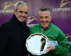 LEOPARDSTOWN 26-10-19. Corinthian Challeneg Charity Race.DALILEO won for rider PADDY WOODS accepting his prize from RUBY WALSH.Photo Healy Racing.